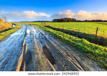 Rural landscape with wet sand road and grassland - stock photo