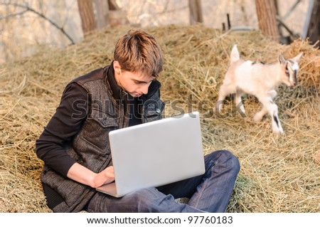 Rural laptop work with a small goat - stock photo