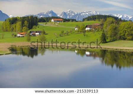 rural panorama landscape in Bavaria, Germany - stock photo