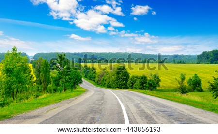 Rural paved road among green fields - stock photo