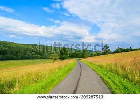 Rural road along green fields to Arlamow village on sunny summer day, Bieszczady Mountains, Poland - stock photo