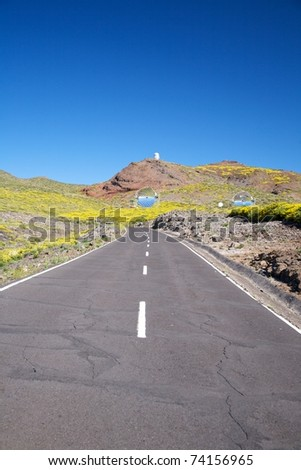 rural road at La Palma in Canary Islands Spain - stock photo