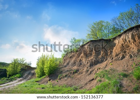 Rural road throug a forest in the gorge  - stock photo