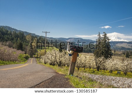 Rural road with Mt. Hood in background, Hood River Valley, Oregon - stock photo