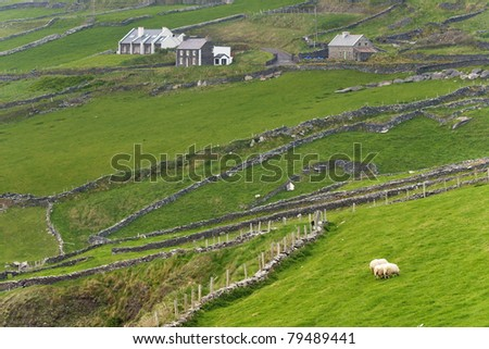 Rural scene at western Ireland - stock photo
