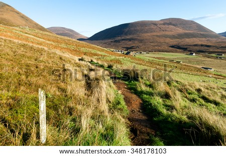 Rural settlement, Rackwick bay, Isle of Hoy, Orkney islands, Scotland - stock photo