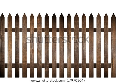 rural wood fence model isolated over white background - stock photo