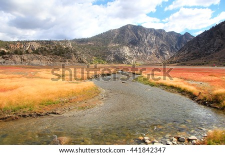 Rush creek near Grant lake in Sierra Nevada mountains - stock photo