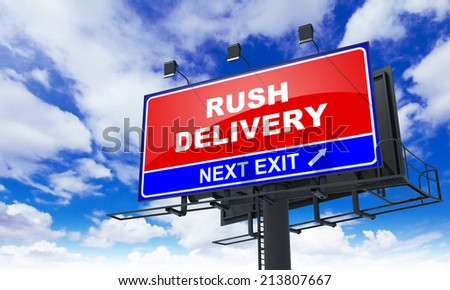 Rush Delivery - Red Billboard on Sky Background. Business Concept. - stock photo