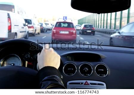 Rush hour in big city - stock photo