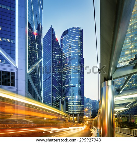 Rush hour in Hong Kong Central at night. - stock photo