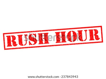 RUSH HOUR red Rubber Stamp over a white background. - stock photo