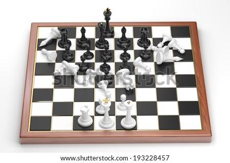 Rush of the black chess figures - stock photo