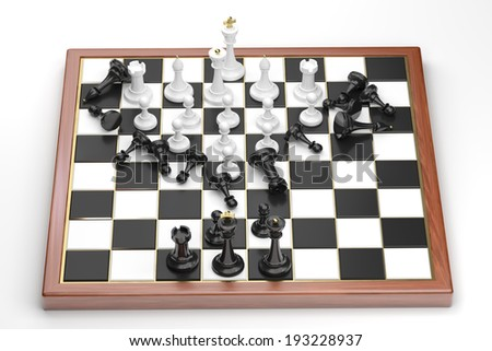 Rush of the white chess figures - stock photo
