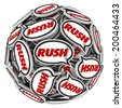 Rush word in speech bubbles to illustrate an urgent need to act fast to beat a deadline - stock photo
