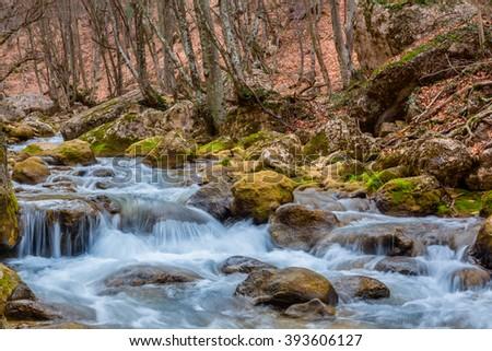 rushing mountain canyon river - stock photo