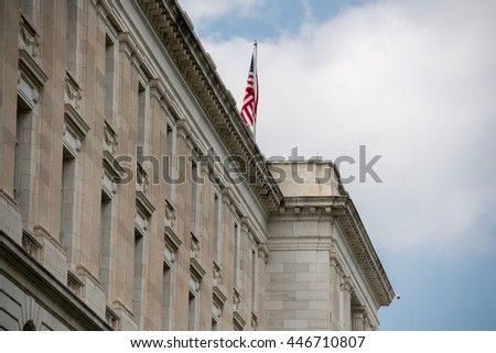 russel building senate capitol in washington dc view - stock photo
