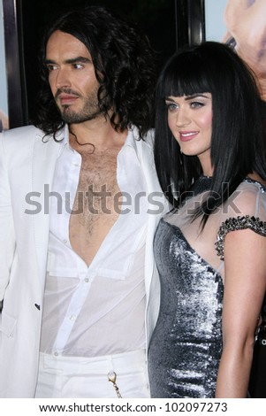 """Russell Brand, Katy Perry at the """"Get Him To The Greek"""" Los Angeles Premiere, Greek Theater, Los Angeles, CA. 05-25-10 - stock photo"""