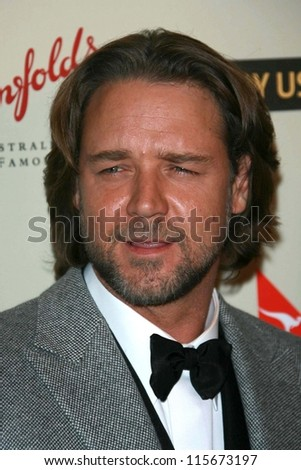 Russell Crowe at the G'Day USA Penfolds Black Tie Icon Gala. Hyatt Regency Century Plaza, Los Angeles, CA. 01-13-07 - stock photo