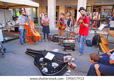RUSSI, RAVENNA, ITALY- SEPTEMBER 16, 2012: street band at the Seven Sorrows annual fair. The exhibition is very popular in the city and attracts thousands of people. - stock photo