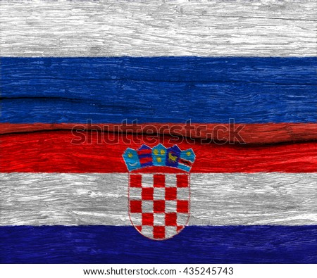 russia and croatia flag on wood texture background floor - can use to display or montage on product or challenge country - stock photo