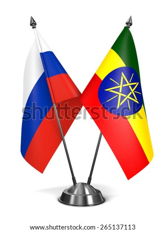 Russia and Ethiopia - Miniature Flags Isolated on White Background. - stock photo