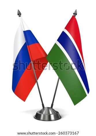 Russia and Gambia - Miniature Flags Isolated on White Background. - stock photo