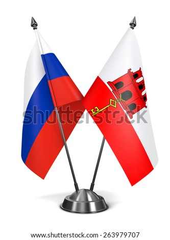 Russia and Gibraltar - Miniature Flags Isolated on White Background. - stock photo