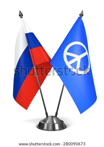 Russia and Peace Sign - Miniature Flags Isolated on White Background. - stock photo