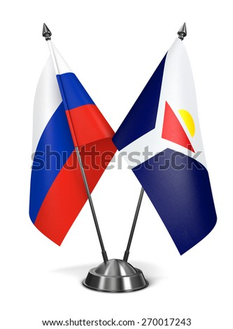 Russia and Saint-Martin of Miniature Flags Isolated on White Background. - stock photo