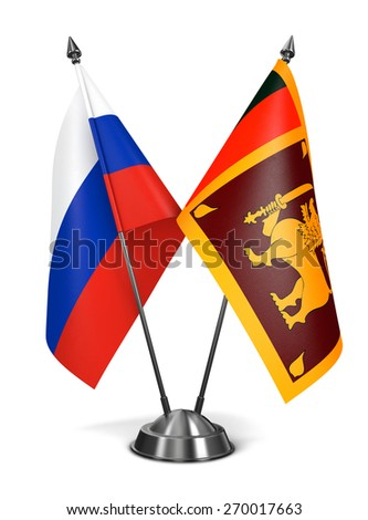 Russia and Sri Lanka - Miniature Flags Isolated on White Background. - stock photo