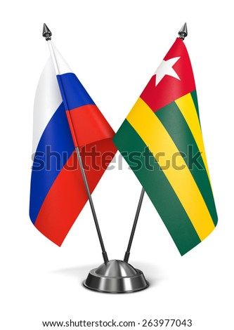 Russia and Togo - Miniature Flags Isolated on White Background. - stock photo
