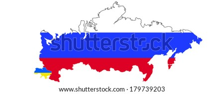 Russia and Ukaraine on map - stock photo