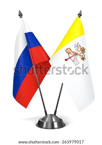 Russia and Vatican City - Miniature Flags Isolated on White Background. - stock photo