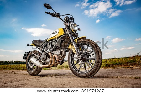 RUSSIA-AUGUST 11, 2015: Scrambler Icon - Ducati. A new Ducati Scrambler was introduced at the 2014 Intermot motorcycle show. Ducati is an Italian company that designs and manufactures motorcycles. - stock photo