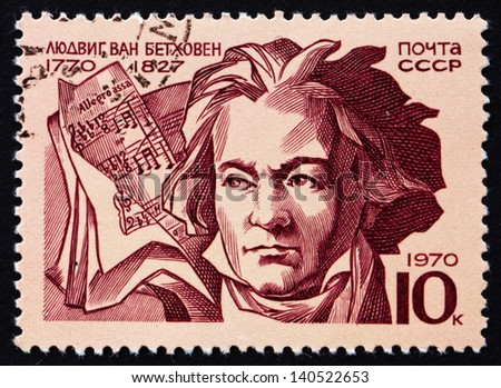 RUSSIA - CIRCA 1970: a stamp printed in the Russia shows Ludwig van Beethoven, German Composer and Pianist, circa 1970 - stock photo