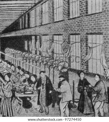 RUSSIA - CIRCA 2008: Illustration from the textbook Modern History, published in the Russia shows textile factory in Japan in the 19th century, circa 2008 - stock photo