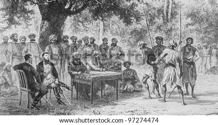 RUSSIA - CIRCA 2008: Illustration from the textbook Modern History, published in the Russia shows collect taxes from Indian peasants in the 19th century, circa 2008 - stock photo