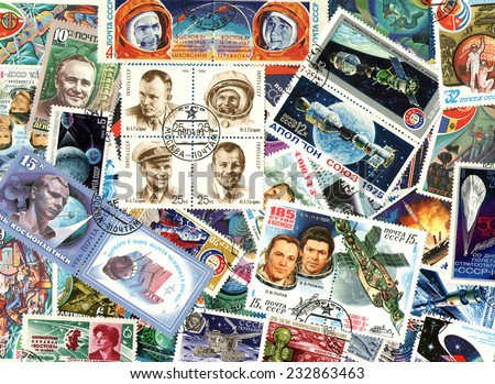 RUSSIA - CIRCA 1970-1990: Space. Background of the postage stamps issued in Soviet Union (USSR). - stock photo
