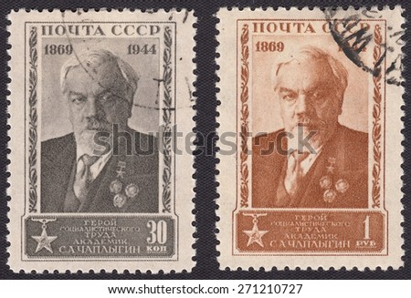 RUSSIA - CIRCA 1944: stamp printed by Russia, shows Sergei Chaplygin - Russian and Soviet mechanic and mathematician, circa 1944 - stock photo