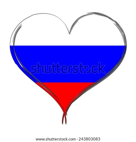 Russia 3D heart shaped flag - stock photo