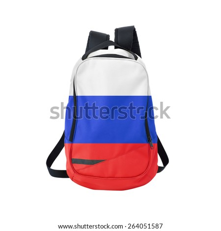 Russia flag backpack isolated on white background. Back to school concept. Education and study abroad. Travel and tourism in Russia - stock photo
