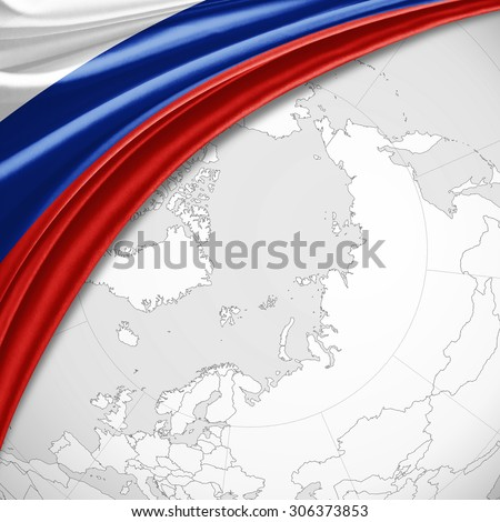 Russia flag of silk with copyspace for your text or images and world map background - stock photo