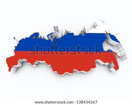 russia flag on 3d map - stock photo