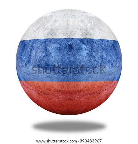 Russia flag pattern on stone circle shape texture - stock photo