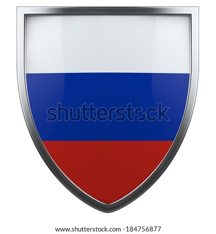 Russia flag shield isolated icon - stock photo