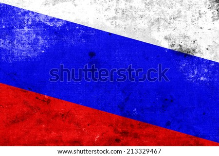 Russia Flag with a vintage and old look - stock photo