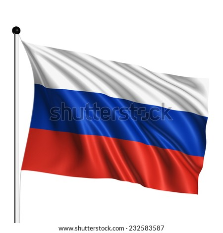 Russia flag with fabric structure on white background - stock photo
