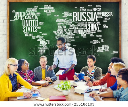 Russia Global World International Countries Globalization Concept - stock photo