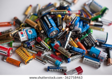 Russia - January 18, 2016: Color batteries of different sizes on a white background isolate - stock photo